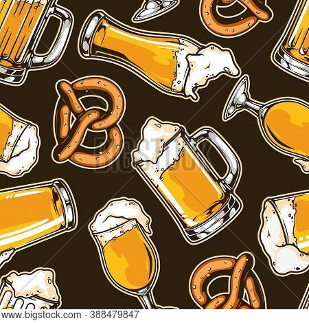 Beer Vintage Seamless Pattern With Pretzel Cups And Mugs Of Foamy Fresh Drink Vector Illustration