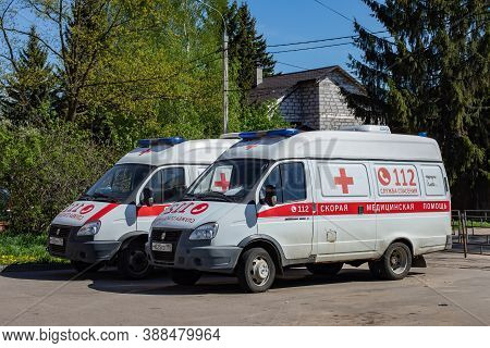 Moscow, Russia - May 11, 2020: Two Russian Ambulances, Medical Emergency Transport. Ambulance Car In