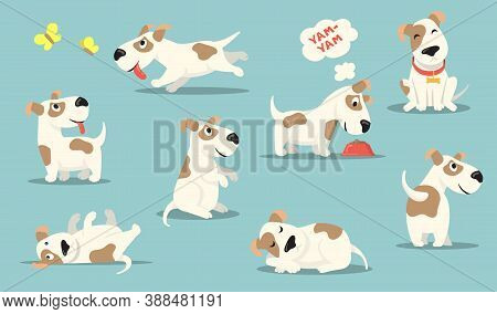 Happy Small Dog Set. Cute Funny Puppy Practicing Different Activities, Hunting, Playing, Eating, Sle