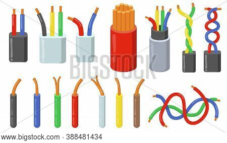 Colorful Electric Cables Set. Colorful Short Pieces Of Wires With Copper Core. Vector Illustrations