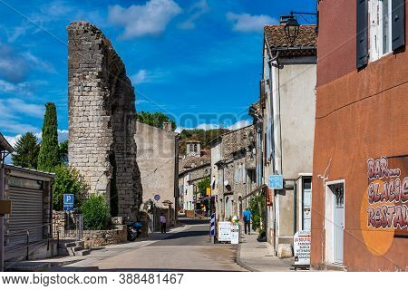 Vogue, France - Sep 25, 2020: Medieval Village Of Vogue In Ardeche, Rhone-alpes, Southern France