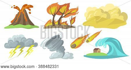 Colorful Natural Disasters Flat Set For Web Design. Cartoon Volcanic Eruption, Fire, Storm, Tornado