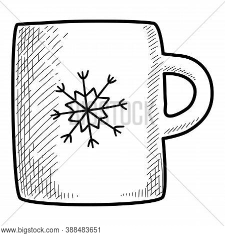 Christmas Holidays Tea Snowflake Mug Icon. Hand Drawn And Outline Illustration Of Christmas Holidays