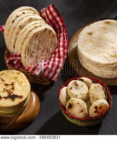 Colombian Corn Arepas - Traditional Breakfast. Zea Mays