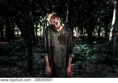 Scary Zombie With Bloody Face Outdoors. Halloween Monster