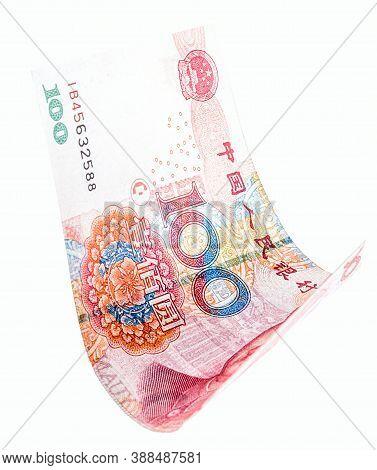 Yuan Banknote On White Background Falling, Chinese Money. Renminbi Or Remmimbi, Draw Concept, Big Lu