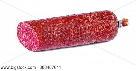 Salami Sausage Isolated On White Background.     Close-up