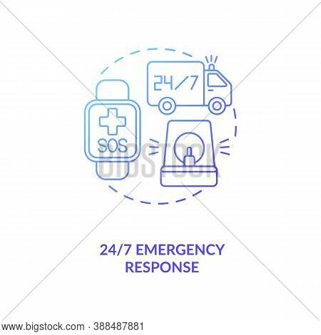 24 7 Emergency Response Concept Icon. Health Monitoring Idea Thin Line Illustration. 24 Hour Hotline