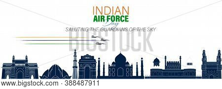 Vector Illustration Of Indian Air Force Day Observed On October 8. Banner With Fighter Plane And Air