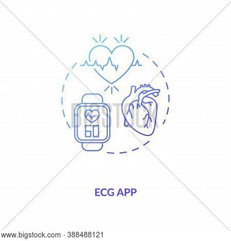 Ecg App Concept Icon. Wearable Technology Feature Idea Thin Line Illustration. Electrocardiogram. Ec