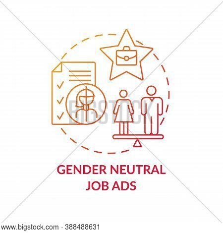 Gender Neutral Job Ads Concept Icon. Gender Diversity Implementation Advices. Getting Money. Job Res