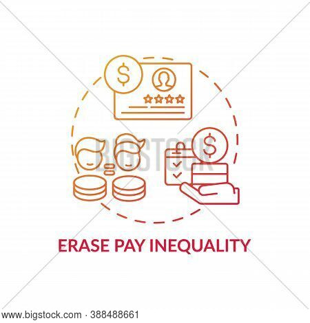 Erase Pay Inequality Concept Icon. Gender Diversity Implementation Tips. Smart Fund Account Manangin