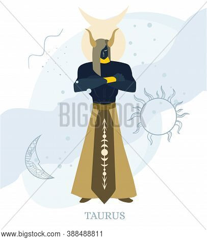 Zodiac Signs Taurus Vector Illustration Of The Zodiac Symbol. Vector Illustration In Flat Style