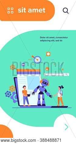 School Activity And Robotics Class Concept. Boy Operating Robot With Remote Control. Vector Illustra