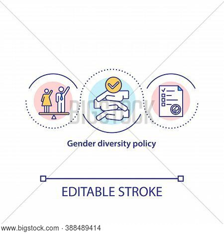 Gender Diversity Policy Concept Icon. Workplace Equality For Men And Women. Legislation Regulation.