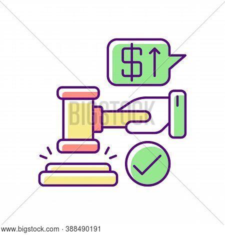 Auction Rgb Color Icon. Competitive Trading Event, Public Sale Of Valuable Lots. Retail Business. Se