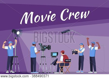 Movie Crew Social Poster Template. Professional Film Equipment. Commercial Flyer Design With Semi Fl