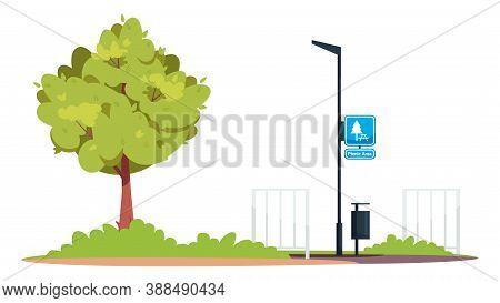 Picnic Area Semi Flat Rgb Color Vector Illustration. Green Park. Lamppost With Sign On It. Chilling