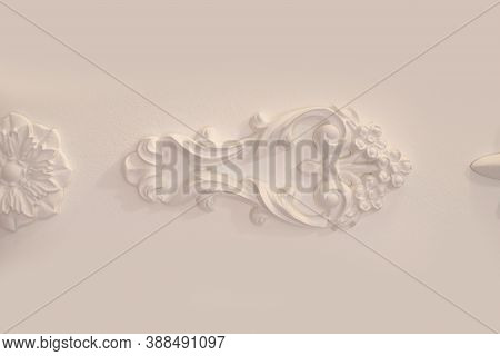 Decorative Moulding On A White Wall, Horizontal Photo, Place For Text, Vintage Interior