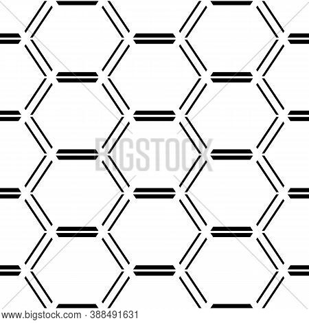 Seamless Mosaic Pattern. Hexagons Ornament. Grid Background. Ancient Ethnic Motif. Geometric Grate W