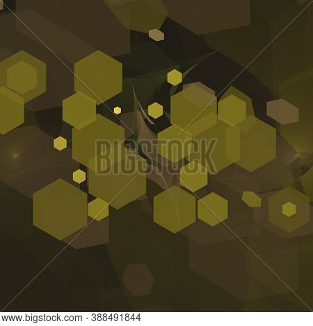 Computer Generated Fractal Abstract Background. Green Hexagon Diverse Shapes Over Dark Space
