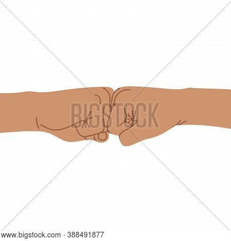 Two Clenched Fists Bumping Together. Concept Of Partnership, Friendship, Team Work, Passion, Spirit.