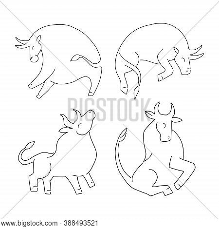 Set Ox And Bull On White Background. Chinese Happy New Year 2021. Year Of The White, Metallic Bull.