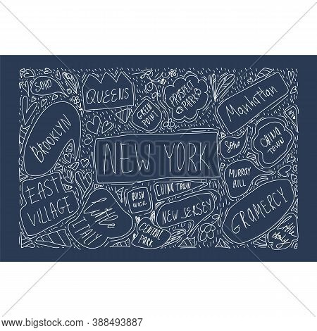 Hand-drawn Illustration Of A Map Of New York City On A Black Background. With Handwritten Names Of D