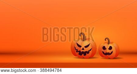 Halloween Creative Banner With Two Orange Scary Pumpkins On Purple Background. Place For Text. Vecto
