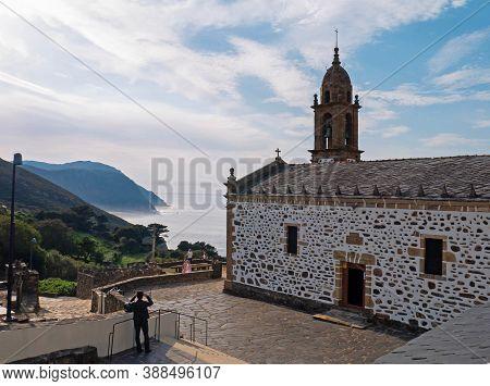 San Andres De Teixido, Spain - September 13, 2020:  Tourists Near The San Andres De Teixido Shrine I