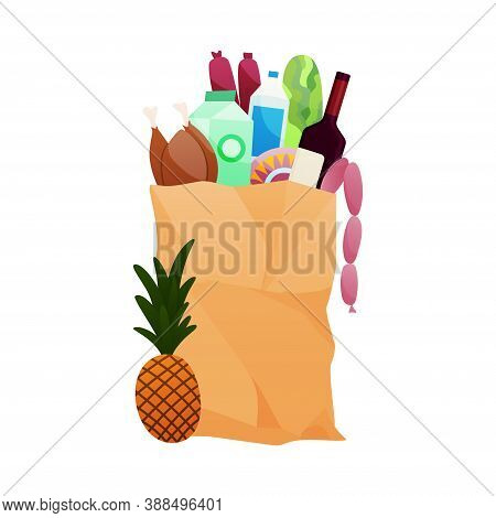 Paper Shopping Bag Products Grocery. Vegetables, Dairy Products, Vine, Meat. Grocery Supermarket. Fr