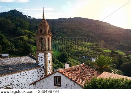 San Andres De Teixido Shrine At The Sunset In Galicia, Spain. Popular Pilgrims Destination.