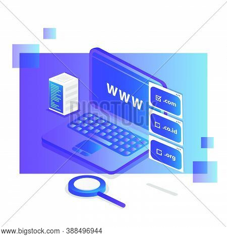 Isometric Domain Registration Design Vector Illustration Background