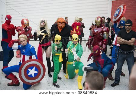 LONDON, UK - OCTOBER 27: Marvel superheroes posing at the London Comicon MCM Expo. Most participants dress up as superheroes to compete in the Euro Cosplay Championship. October 27, 2012 in London.