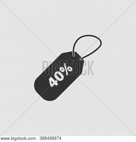 40 Percent Discount Icon Flat. Black Pictogram On Grey Background. Vector Illustration Symbol