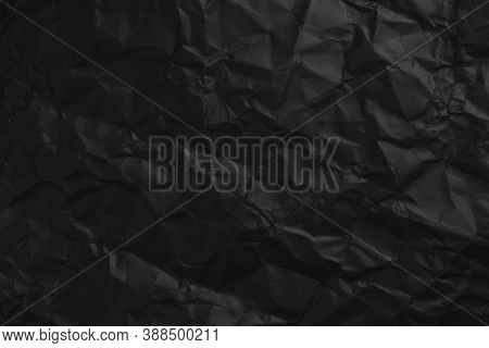 Wrinkled Black Paper. Abstract Dark Blank. Close Up