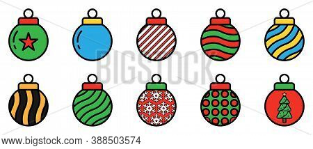 Christmas Balls Set. Xmas Bubble Ornament. Collection Of Christmas Bulb Icons. Colorful Sphere Decor