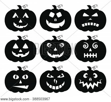 Halloween Pumpkin Silhouette Collection Isolated On White. Scary Face Expression Vector Set. Funny J