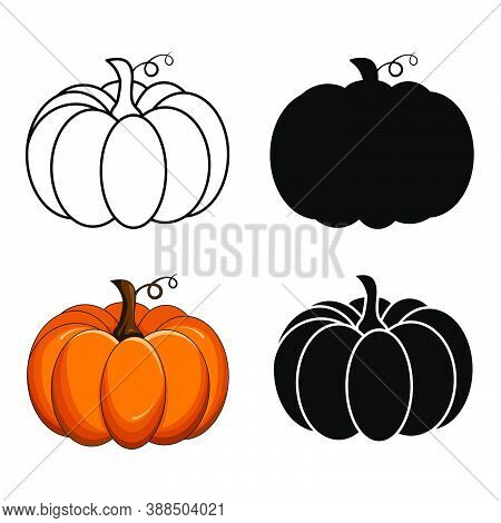 Pumpkin Vector Set Isolated On White. Autumnal Silhouette, Outline And Orange Cartoon Collection. Ha