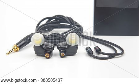 In-ear Headphones For Hi-fi Music Player. Audio Sound And Modern Equipment For Music Lovers And Audi