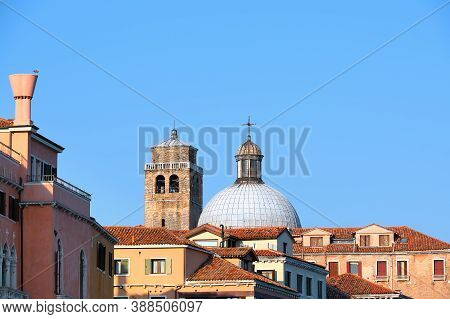 Cupola Of Church Of San Geremia And Ancient Romanesque Bell Tower In Venice, Italy
