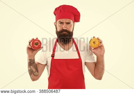 Eat Fresh Tomato. Healthy Cooking Concept. Man Beard Grocery Shopping White Background. Chef Hold To