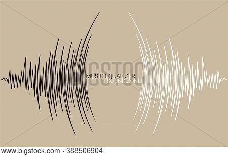 Abstract Technology Music Poster. Radial Sound Wave Banner. Vector Frequency Colorful Equalizer Back