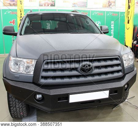 Kyiv / Ukraine. 09 March 2019: To Yota Sequoia Is In Sale At Exhibition . Modern Toy Ota Car Is Pres