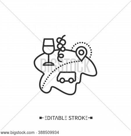 Enotourism Line Icon. Wine Tourism, Or Vinitourism. Tasting, Consumption Wine, Tour On Winery. Viney
