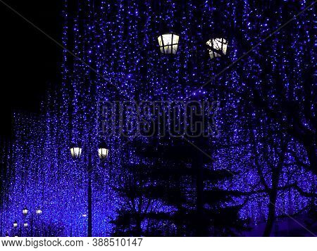 Christmas Holiday Background. A Large Number Of Lanterns And Garlands On Christmas Night. The Concep