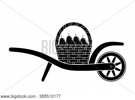 Vector Wheel Barrow And Basket Of Pears Isolated On White Background