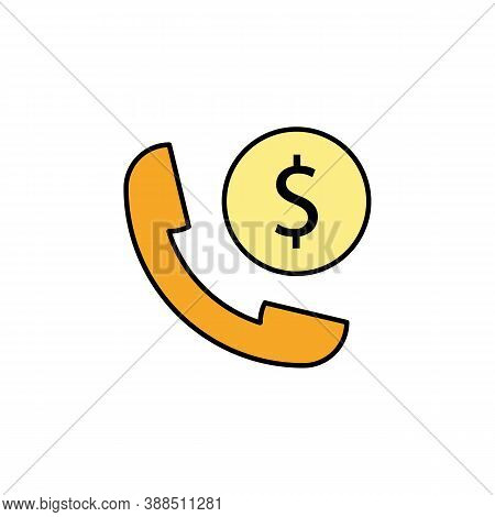 Handset, Dollar Colored Icon. Element Of Finance Illustration. Signs And Symbols Colored Icon Can Be