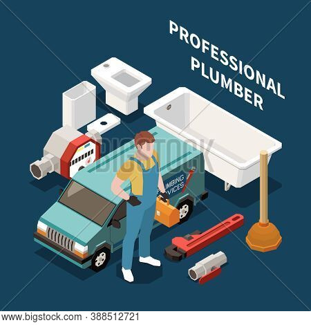 Plumber Isometric Colored Concept Plumber Dressed In Work Clothes With  Work Tools And Equipment Vec