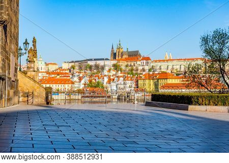 Scenic View Of Prague Castle, Czech: Prazsky Hrad, View From Krizovnicke Square, Praha, Czech Republ
